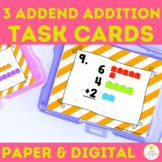 3 Addend Addition Task Cards | 1st Grade Math Review Cente