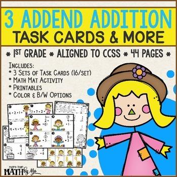 3 Addend Addition Task Cards & More