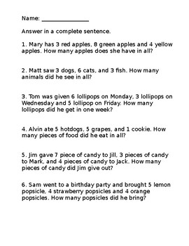 3 Addend Addition Word Problems (Sums within 10 - 20 ...