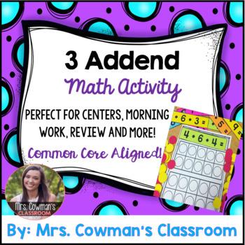 3 Addend Math Center Activity