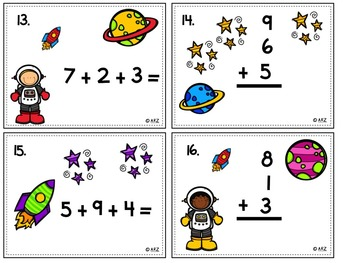 3 Addend Math Center Task Cards