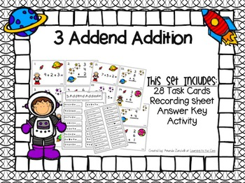3 Addend Math Center Task Cards