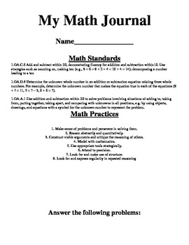3 Addend Math Journal