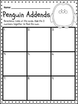 3 Addend Penguin Addition