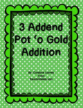 3 Addend Pot 'o Gold Addition Craftivity