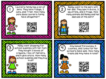 3 Addend Problem Solving Task Cards {with QR Codes}