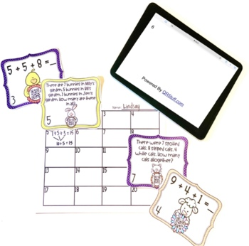 3 Addend Task Cards with QR Codes