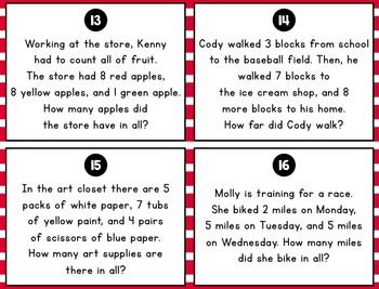3 Addend Word Problem Task Cards