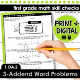 3-Addend Word Problems - First Grade Print and Go