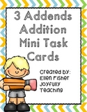 3 Addends Addition Mini Task Cards