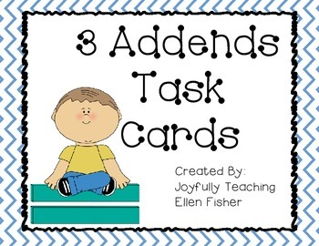 3 Addends Addition Task Cards