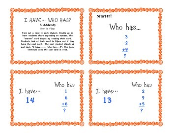 Addition with 3 Addends, Sums to 20, Math Game