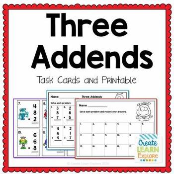 3 Addends Task Cards Math Intervention