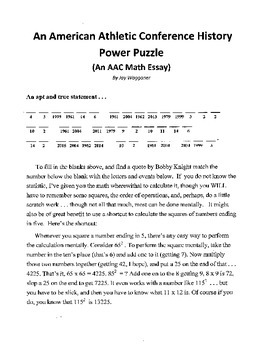3 American Athletic Conference Puzzles,Math Essay,Crossword,Word Search,Sports