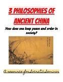 3 Ancient Chinese Philosophies Socratic Seminar (Confucianism, Daoism, Legalism)