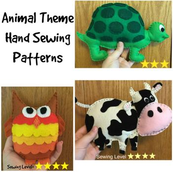 3 Animal Felt Hand Sewing Patterns Bundle- Cow, Turtle, Owl
