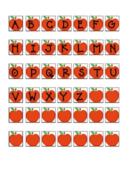 3 Apple theme matching Literacy Stations