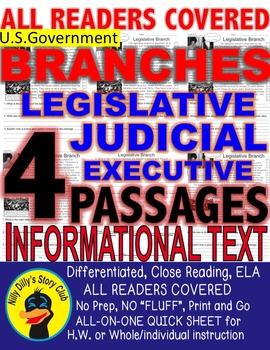 US Gov. 3 BRANCHES Judicial Executive Legislative CLOSE READING 5 LEVEL PASSAGES