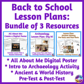 Prehistory Pretest, Archeology Activity, Digital Poster BUNDLE