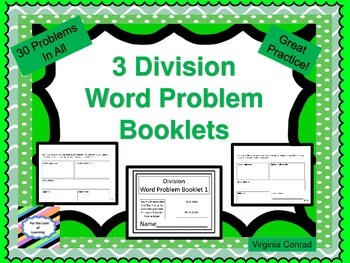 Basic Division Word Problem Booklets---10 problems in each