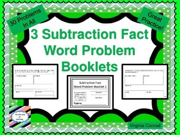 Basic Subtraction Fact Word Problem Booklets---each booklet 10 pages
