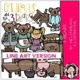 3 Bears clip art - LINE ART - Melonheadz Illustrating