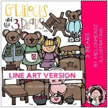 Melonheadz: 3 Bears clip art - LINE ART