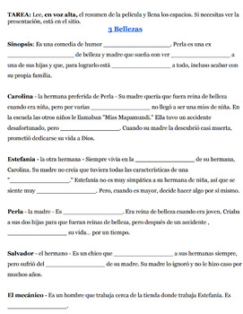 3 Bellezas - A unit packet for Spanish 4, 5, or AP