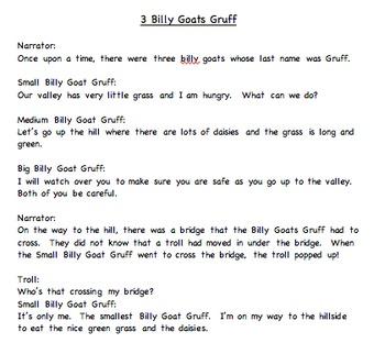 3 Billy Goats Gruff Reader's Theater