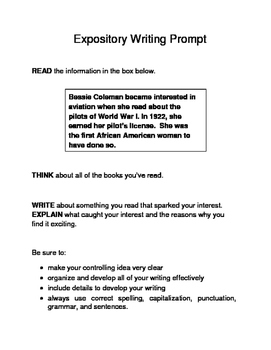3 Black History Month Female Expository Writing Prompts Set A STAAR 6th 7th