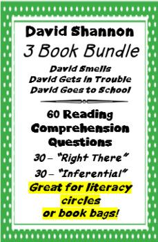 3 Book Bundle - David Shannon - Reading Comprehension Questions