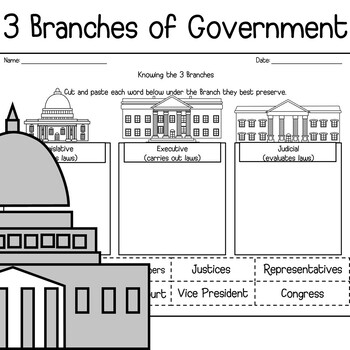 Three Branches Of Government Worksheets | Teachers Pay Teachers