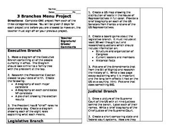 3 Branches of Governement Menu Project