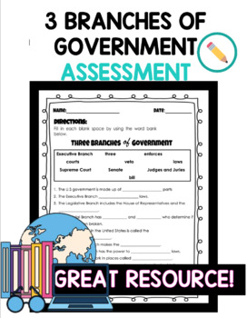3 Branches of Government Assessment/Quiz