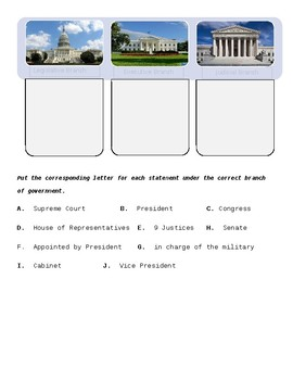 3 Branches of Government / Constitution Test
