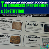 3 Branches of Government & Constitution Word Wall Tiles