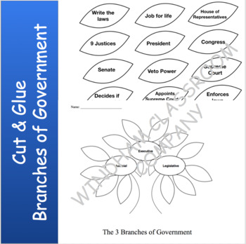 3 Branches of Government Cut & Glue