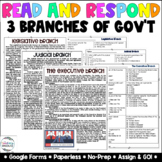 3 Branches of Government Google Forms [Paper & Digital]