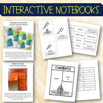 3 Branches of Government Pack Interactive Notebooks, PowerPoint, Printables
