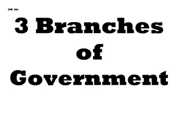 3 Branches of Government Printable