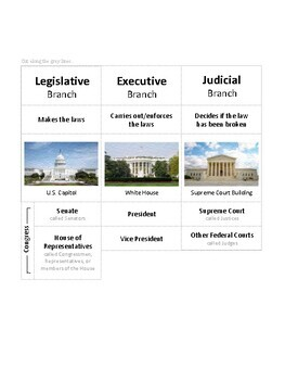 3 Branches of Government Puzzle Chart