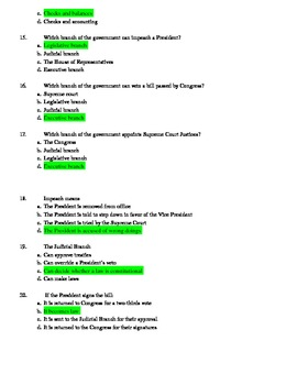 3 Branches of Government Quiz and Answer Sheet