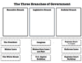3 Branches of Government Sort Worksheet