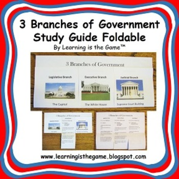 3 Branches of Government Study Guide Foldable