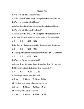 3 Branches of Government Test