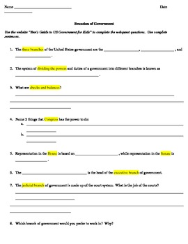 3 Branches of Government Webquest grades 3-5
