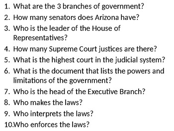 3 Branches of Government quiz