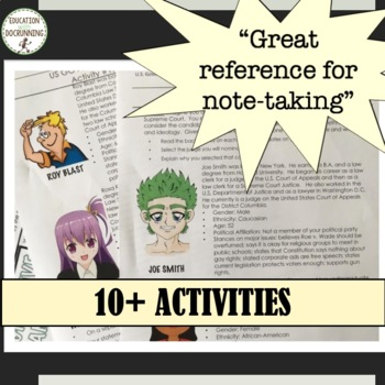 3 Branches of the US Government Readings, Notes and Activities Bundle SAVE!