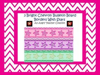 3 Bright Chevron Printable Bulletin Board Boarders with Stars