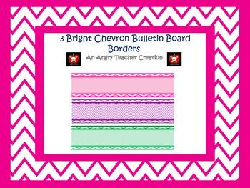 3 Bright Chevron Printable Bulletin Board Borders Pack